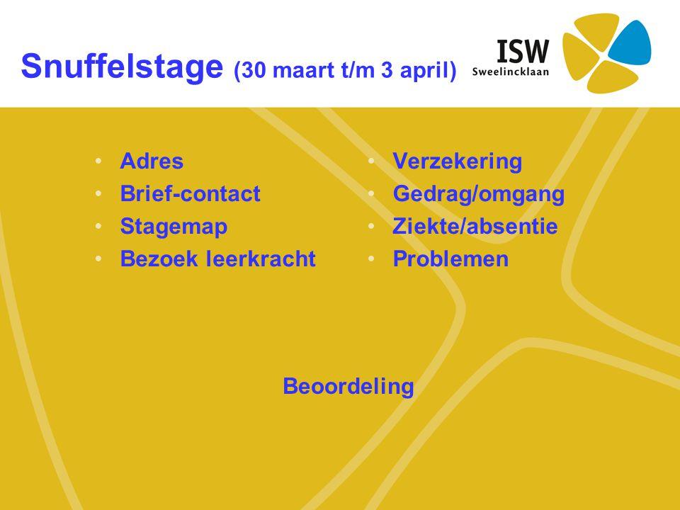 Snuffelstage (30 maart t/m 3 april)