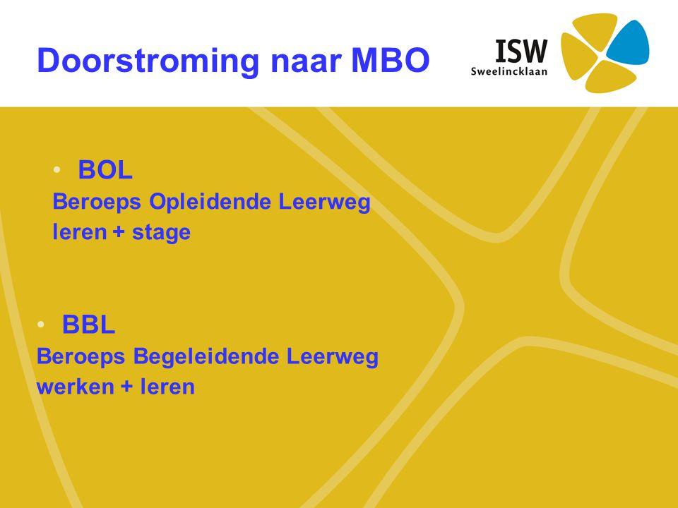 Doorstroming naar MBO BOL BBL Beroeps Opleidende Leerweg leren + stage