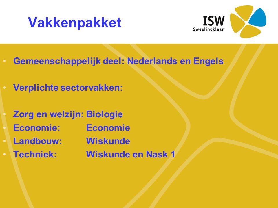 Vakkenpakket Gemeenschappelijk deel: Nederlands en Engels