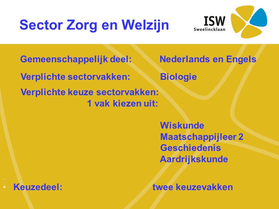 Sector Zorg en Welzijn Gemeenschappelijk deel: Nederlands en Engels