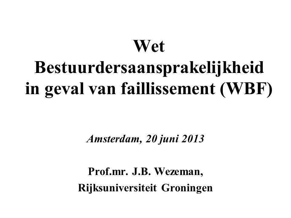 Wet Bestuurdersaansprakelijkheid in geval van faillissement (WBF)