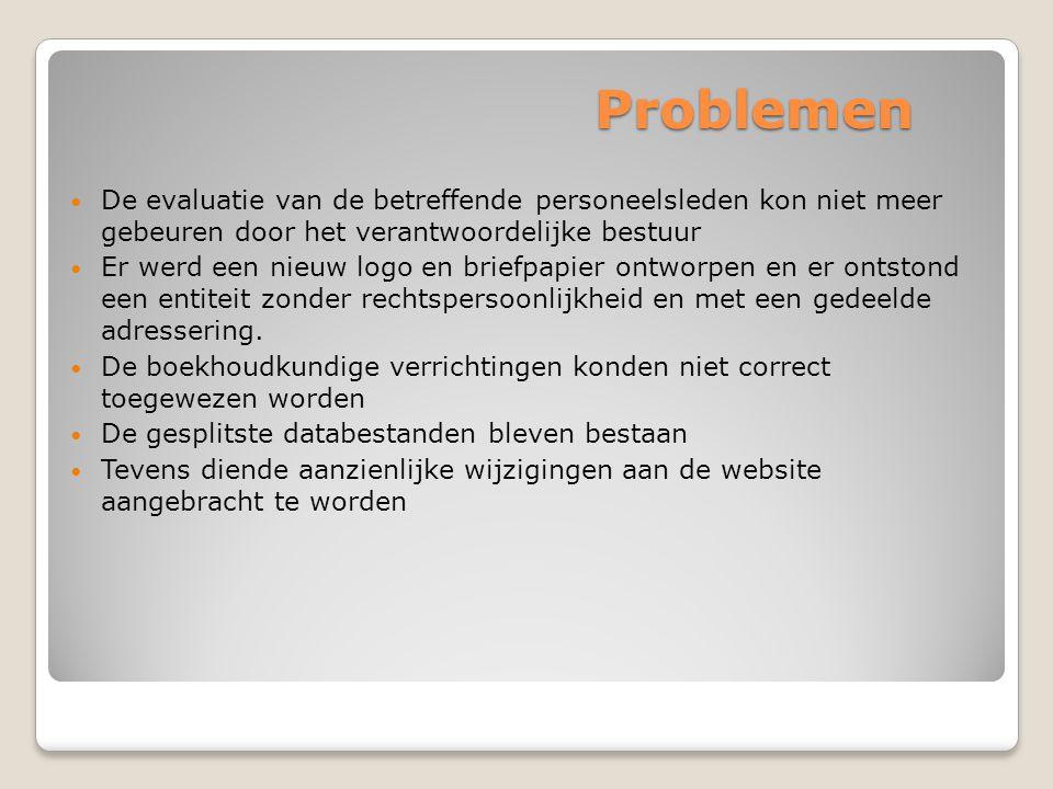 Problemen De evaluatie van de betreffende personeelsleden kon niet meer gebeuren door het verantwoordelijke bestuur.