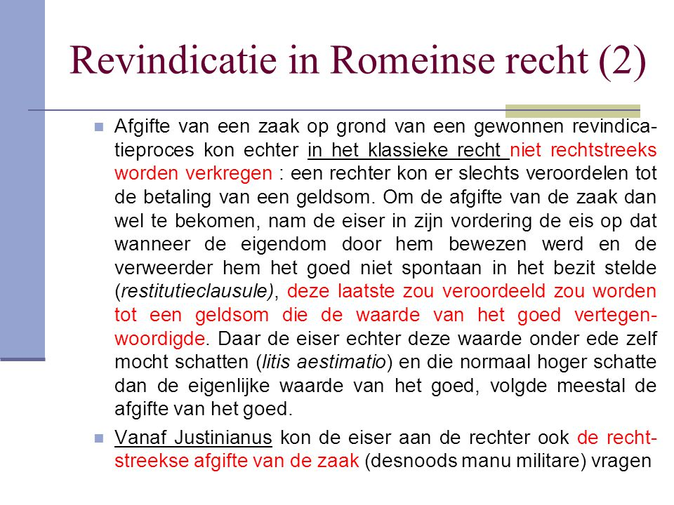 Revindicatie in Romeinse recht (2)