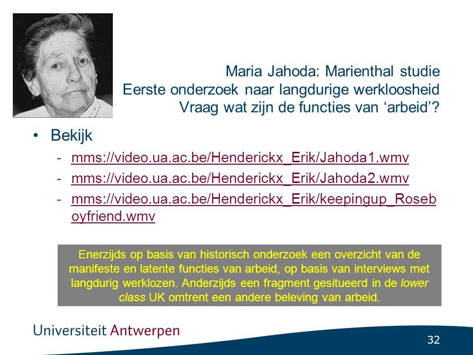 Toepassing functieconcept Merton op basis van Maria Jahoda