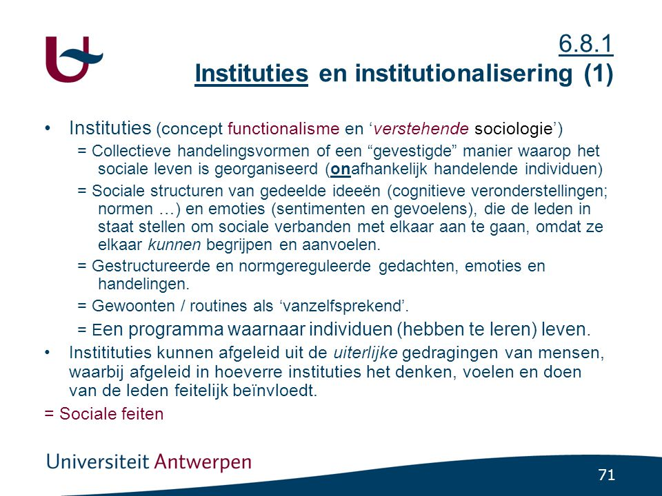 6.8.1 Instituties en institutionalisering (1)