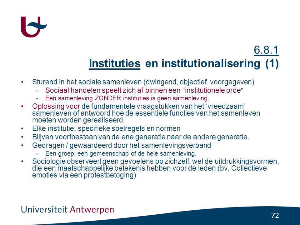 6.8.1 Instituties en institutionalisering (2)