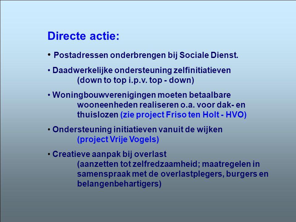 Directe actie: Postadressen onderbrengen bij Sociale Dienst.