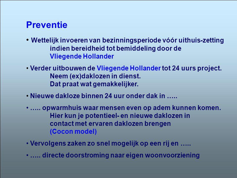 Preventie Wettelijk invoeren van bezinningsperiode vóór uithuis-zetting indien bereidheid tot bemiddeling door de Vliegende Hollander.