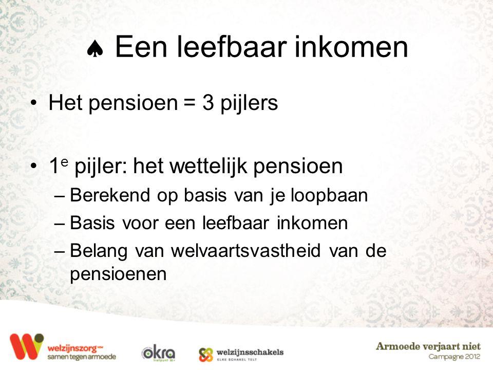  Een leefbaar inkomen Het pensioen = 3 pijlers