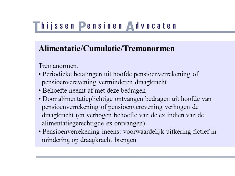 Alimentatie/Cumulatie/Tremanormen