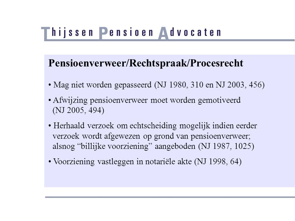 Pensioenverweer/Rechtspraak/Procesrecht