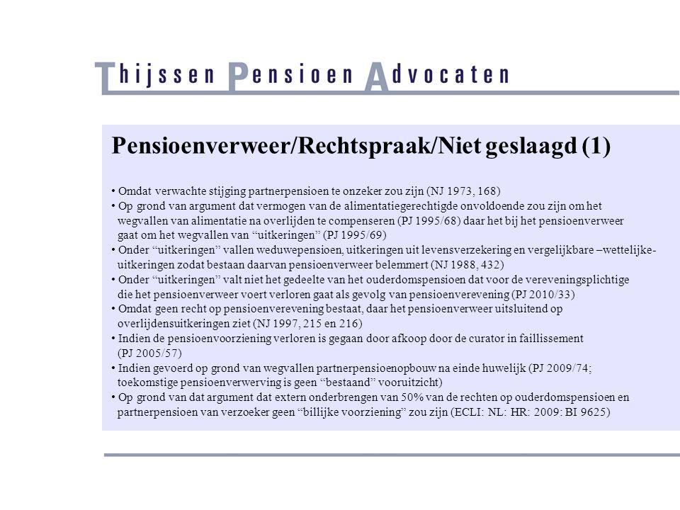 Pensioenverweer/Rechtspraak/Niet geslaagd (1)
