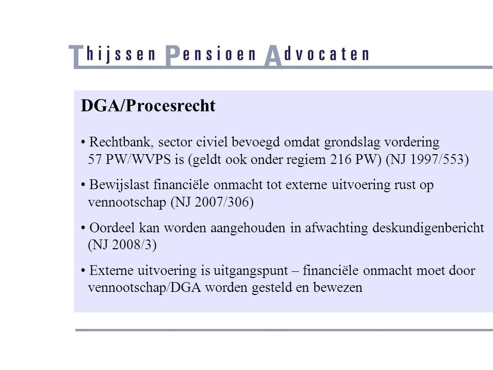 DGA/Procesrecht Rechtbank, sector civiel bevoegd omdat grondslag vordering. 57 PW/WVPS is (geldt ook onder regiem 216 PW) (NJ 1997/553)