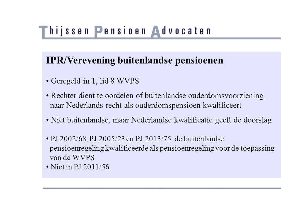 IPR/Verevening buitenlandse pensioenen