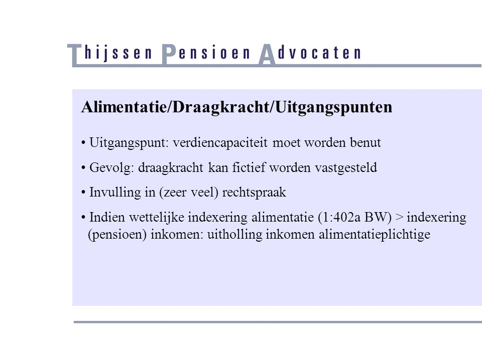 Alimentatie/Draagkracht/Uitgangspunten