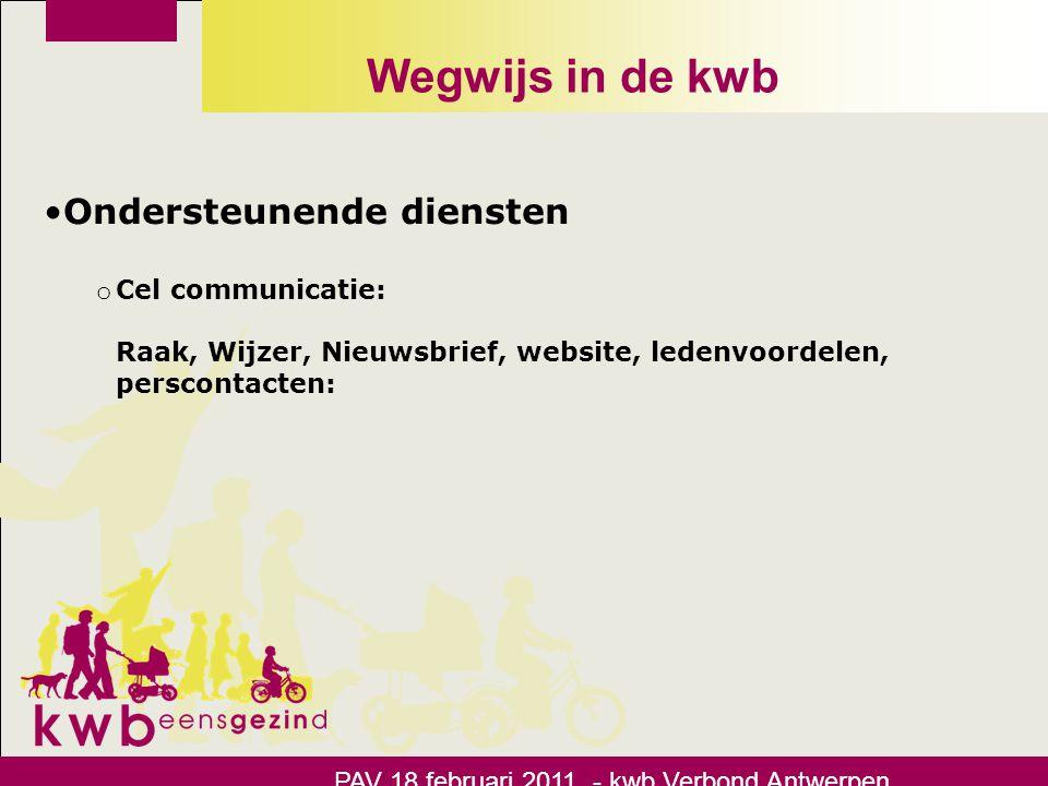 Wegwijs in de kwb Ondersteunende diensten Cel communicatie: