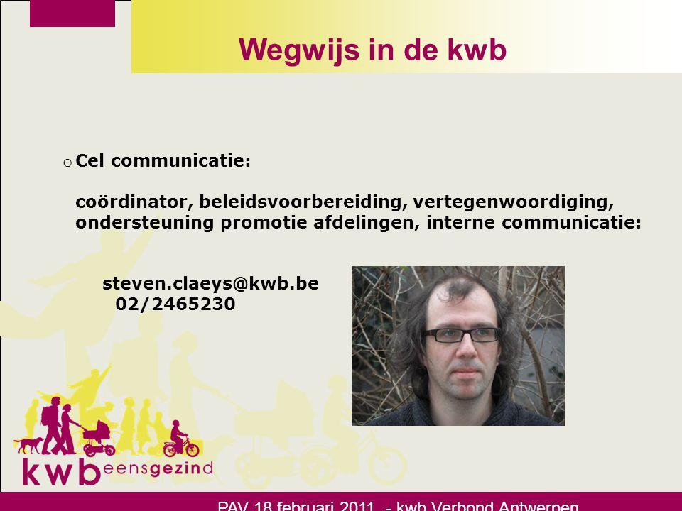 Wegwijs in de kwb Cel communicatie: