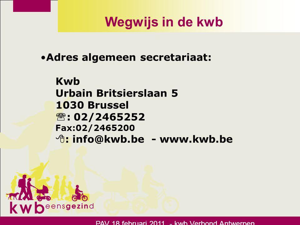 Wegwijs in de kwb Adres algemeen secretariaat: Kwb