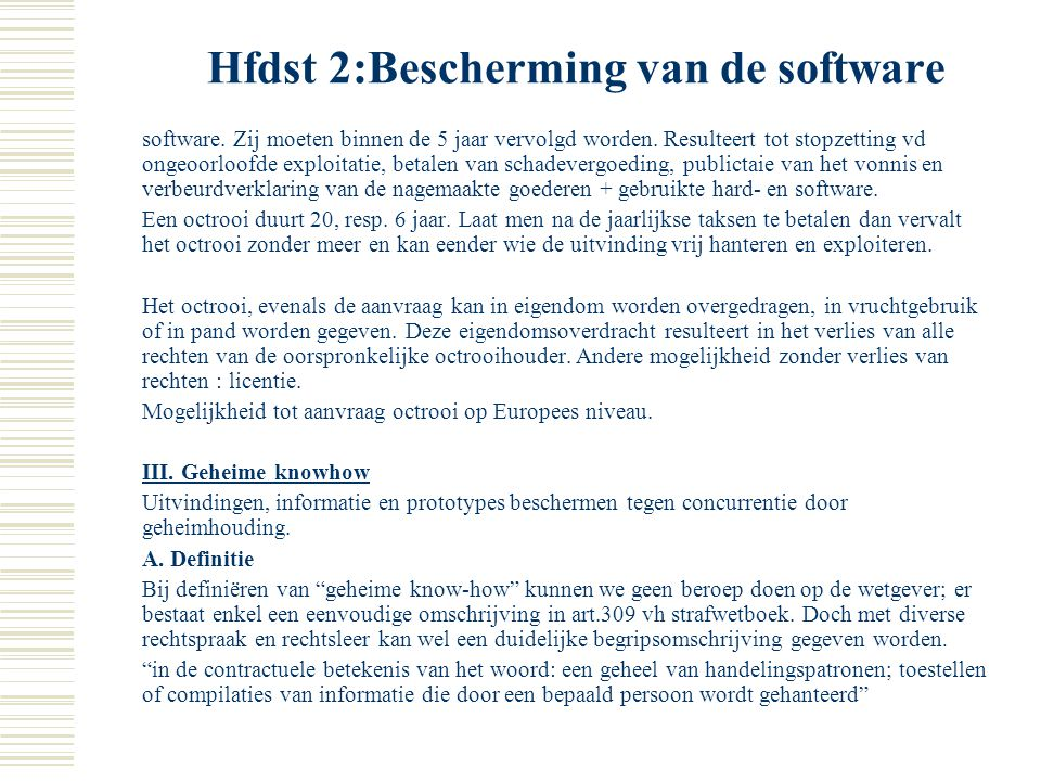 Hfdst 2:Bescherming van de software