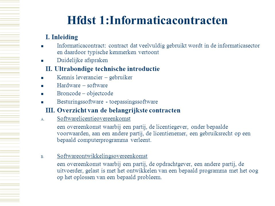 Hfdst 1:Informaticacontracten