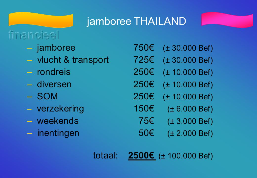 financieel jamboree THAILAND jamboree 750€ (± 30.000 Bef)