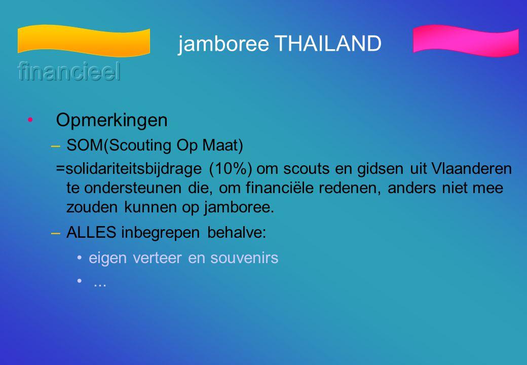 financieel jamboree THAILAND Opmerkingen SOM(Scouting Op Maat)