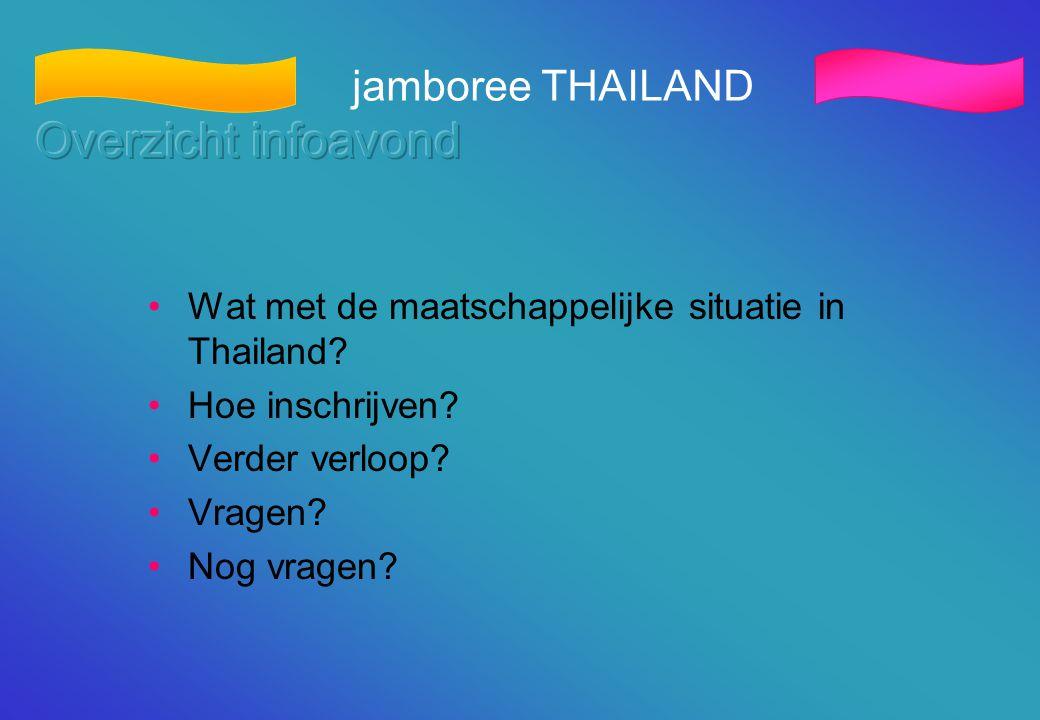 Overzicht infoavond jamboree THAILAND