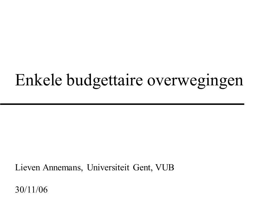 Enkele budgettaire overwegingen
