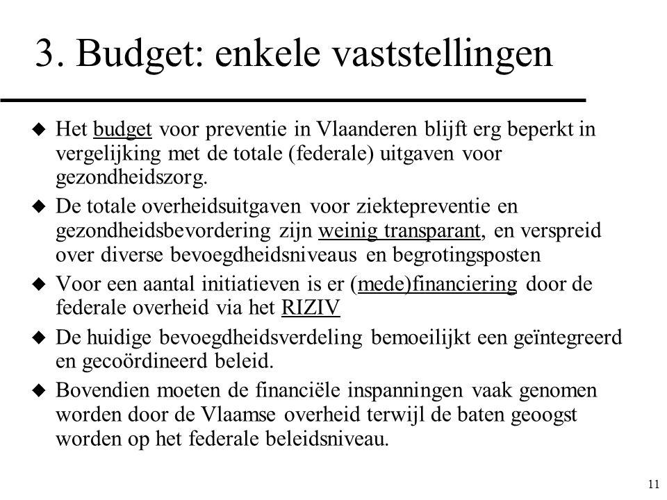 3. Budget: enkele vaststellingen