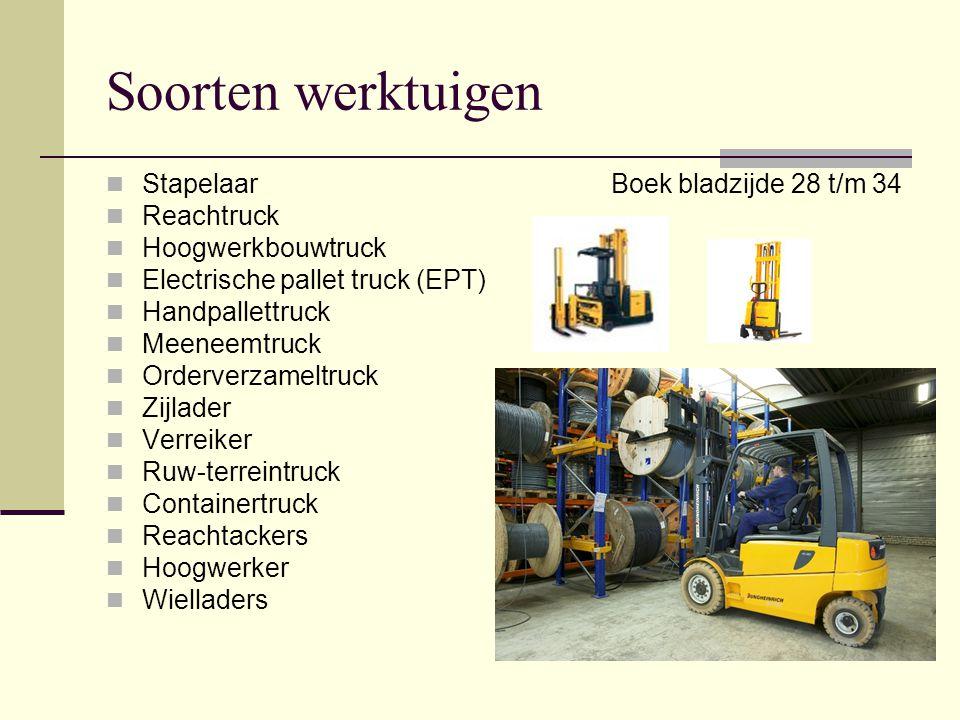 Soorten werktuigen Stapelaar Reachtruck Hoogwerkbouwtruck