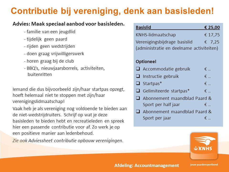 Contributie bij vereniging, denk aan basisleden!