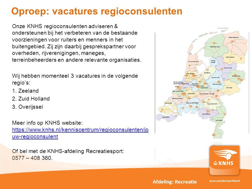 Oproep: vacatures regioconsulenten