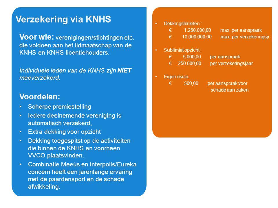 Verzekering via KNHS Verzekering via KNHS
