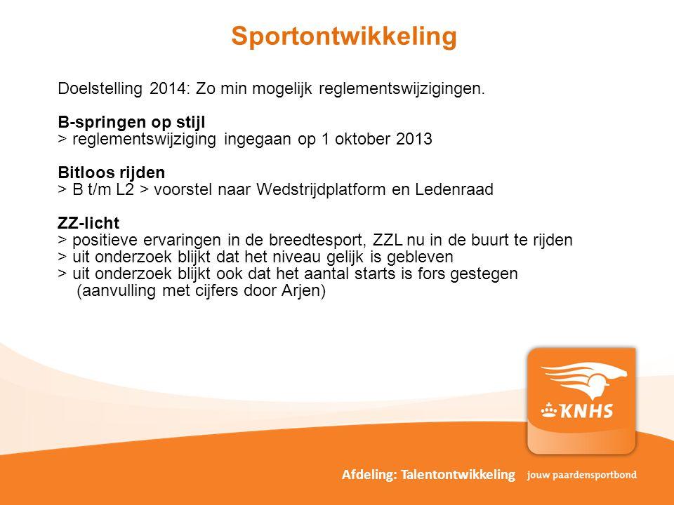 Sportontwikkeling Doelstelling 2014: Zo min mogelijk reglementswijzigingen. B-springen op stijl. > reglementswijziging ingegaan op 1 oktober 2013.