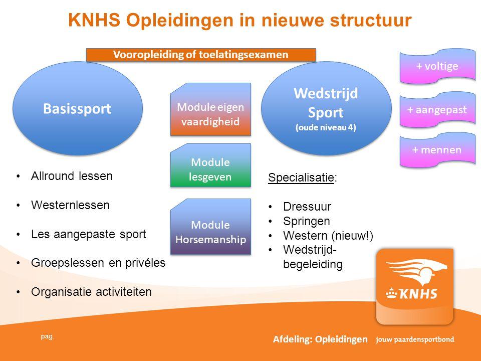 KNHS Opleidingen in nieuwe structuur