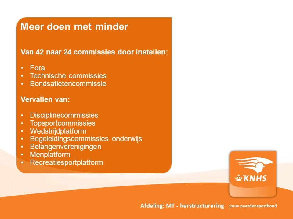 Meer doen met minder Van 42 naar 24 commissies door instellen: Fora