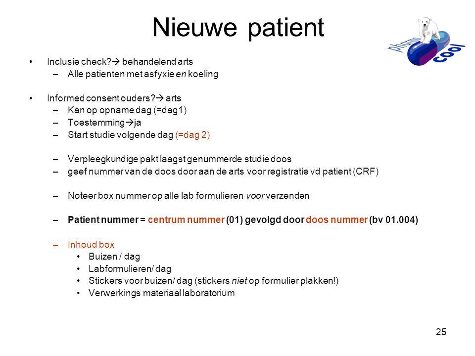 Nieuwe patient Inclusie check  behandelend arts