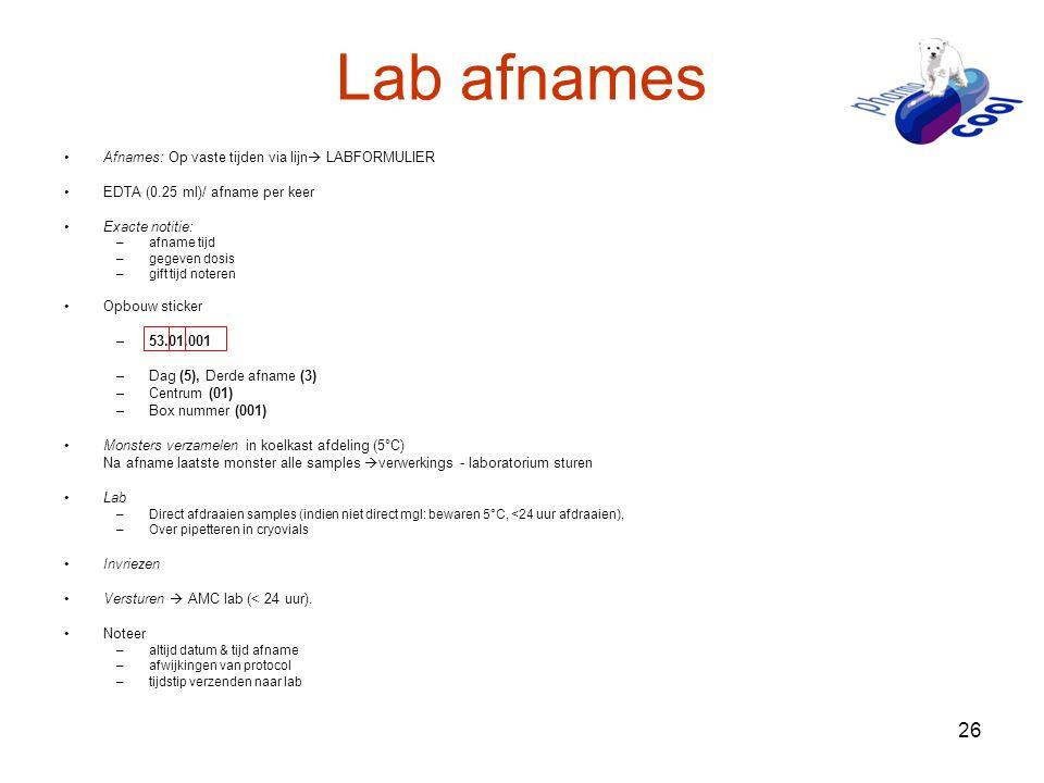 Lab afnames Afnames: Op vaste tijden via lijn LABFORMULIER