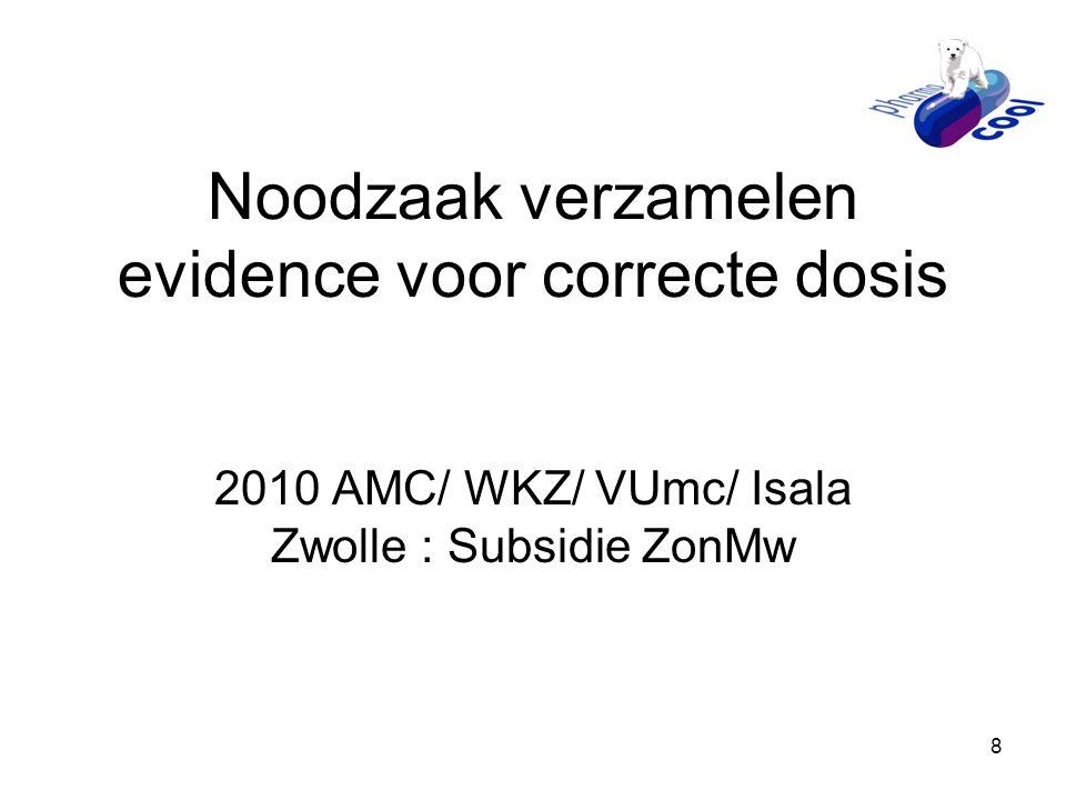 Noodzaak verzamelen evidence voor correcte dosis