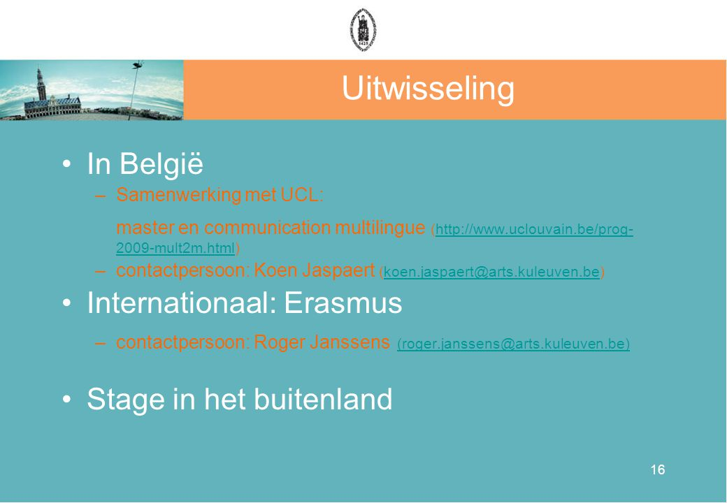 Uitwisseling In België Internationaal: Erasmus Stage in het buitenland