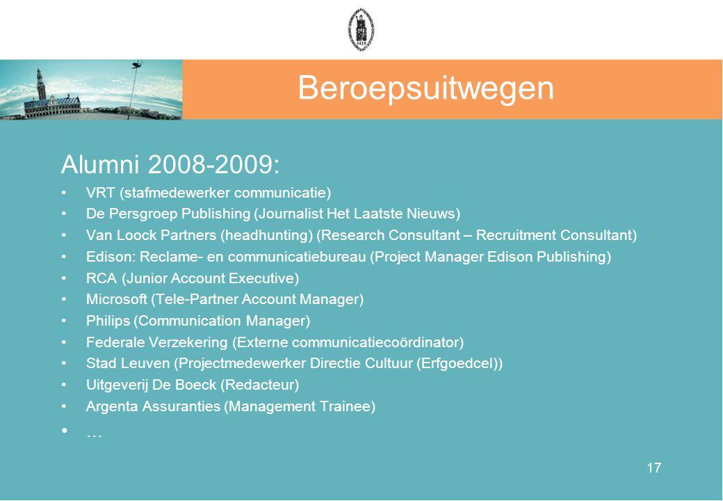 Beroepsuitwegen Alumni 2008-2009: ...