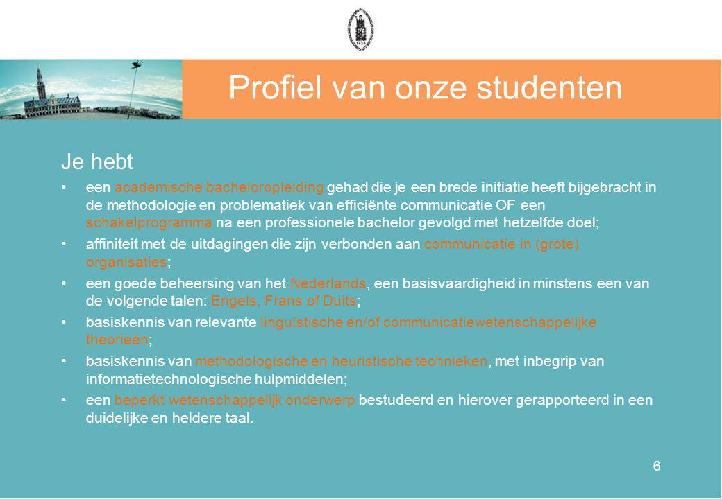 Profiel van onze studenten