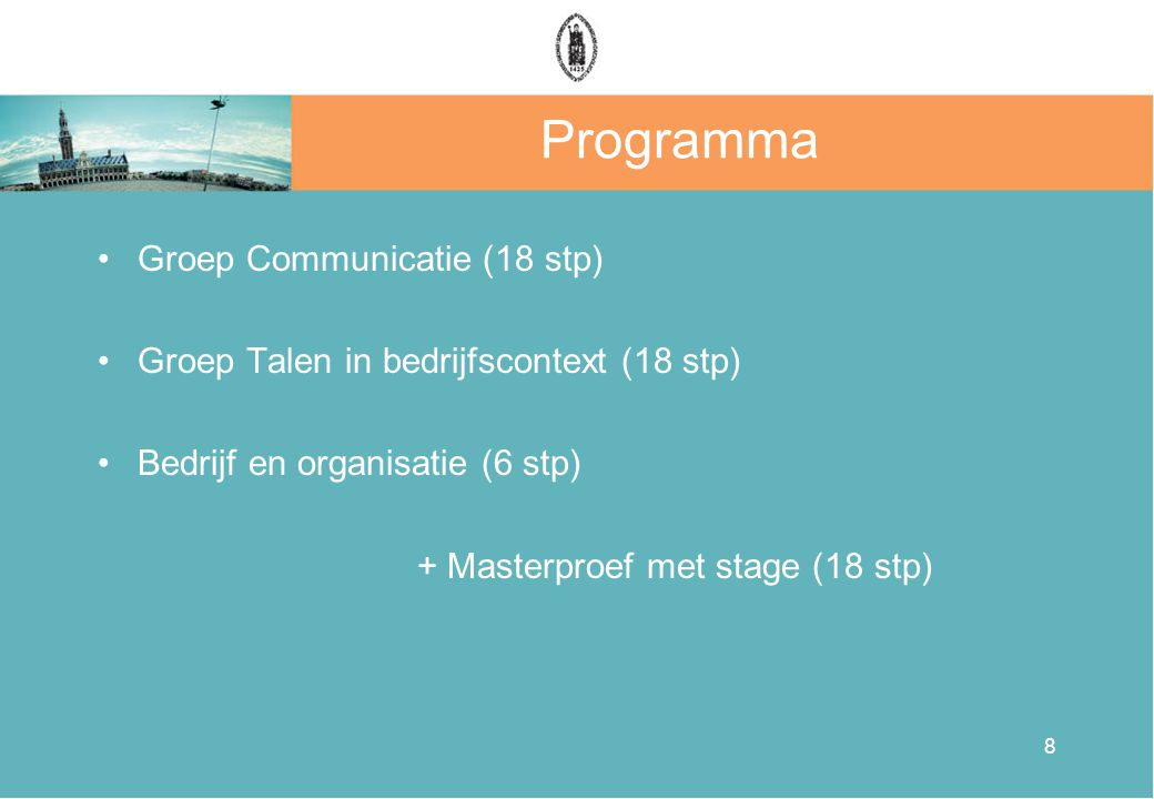 Programma Groep Communicatie (18 stp)