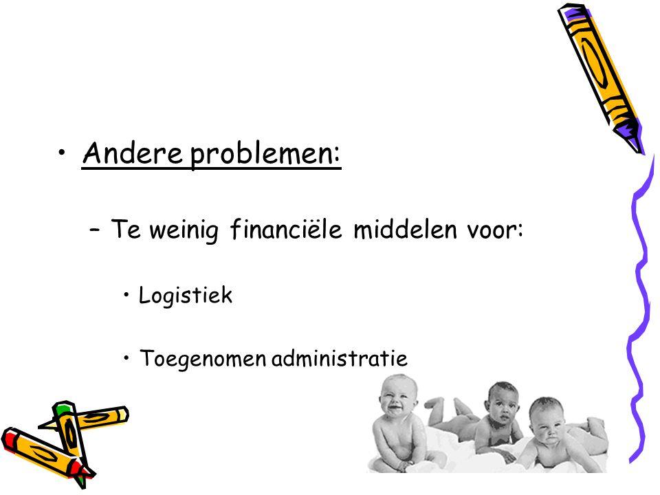 Andere problemen: Te weinig financiële middelen voor: Logistiek