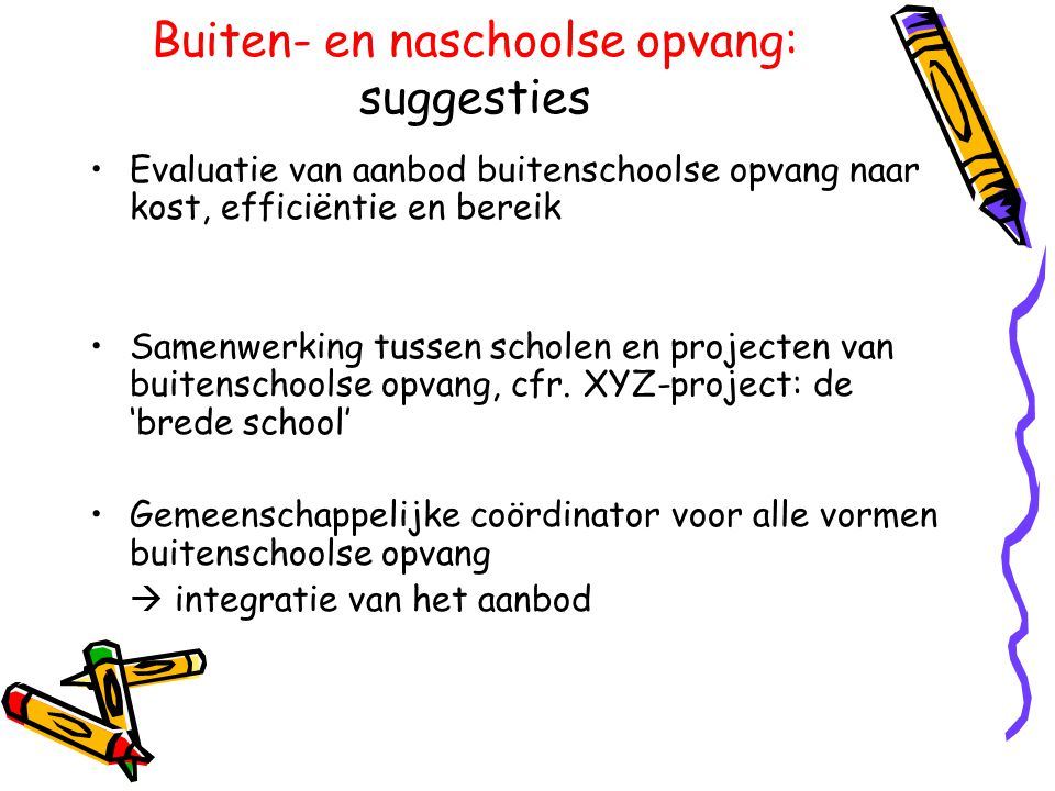 Buiten- en naschoolse opvang: suggesties