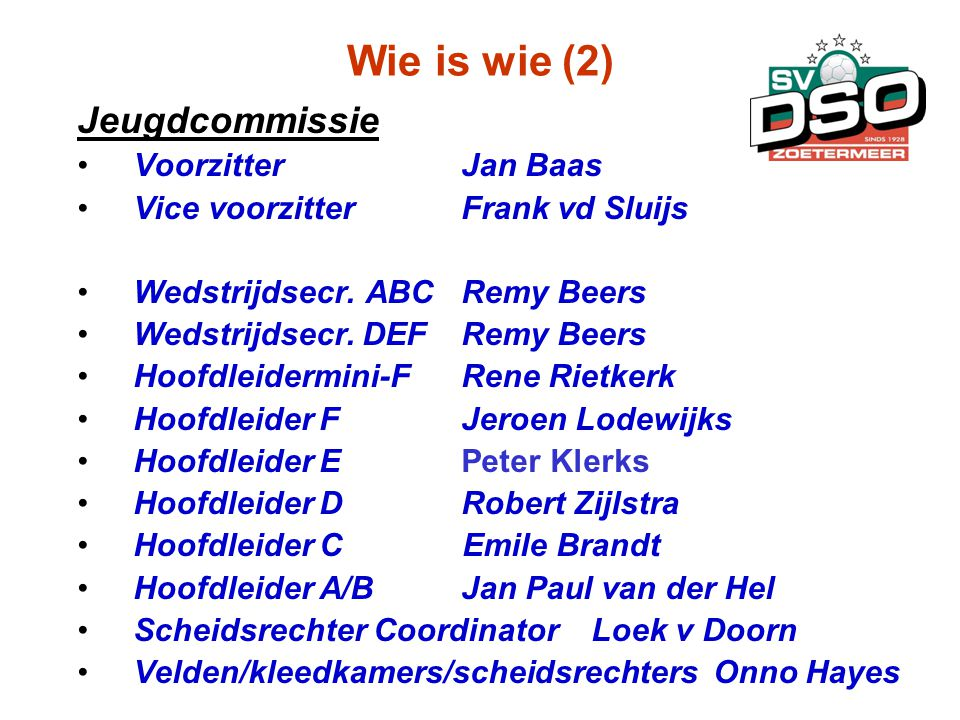 Wie is wie (2) Jeugdcommissie Voorzitter Jan Baas