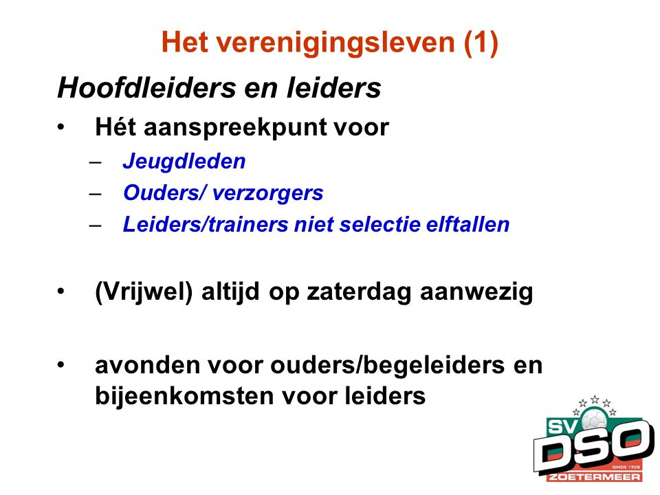 Het verenigingsleven (1)