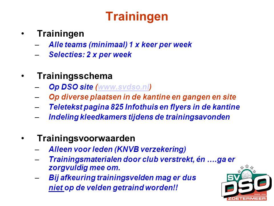 Trainingen Trainingen Trainingsschema Trainingsvoorwaarden