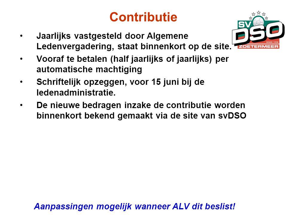 Contributie Jaarlijks vastgesteld door Algemene Ledenvergadering, staat binnenkort op de site.