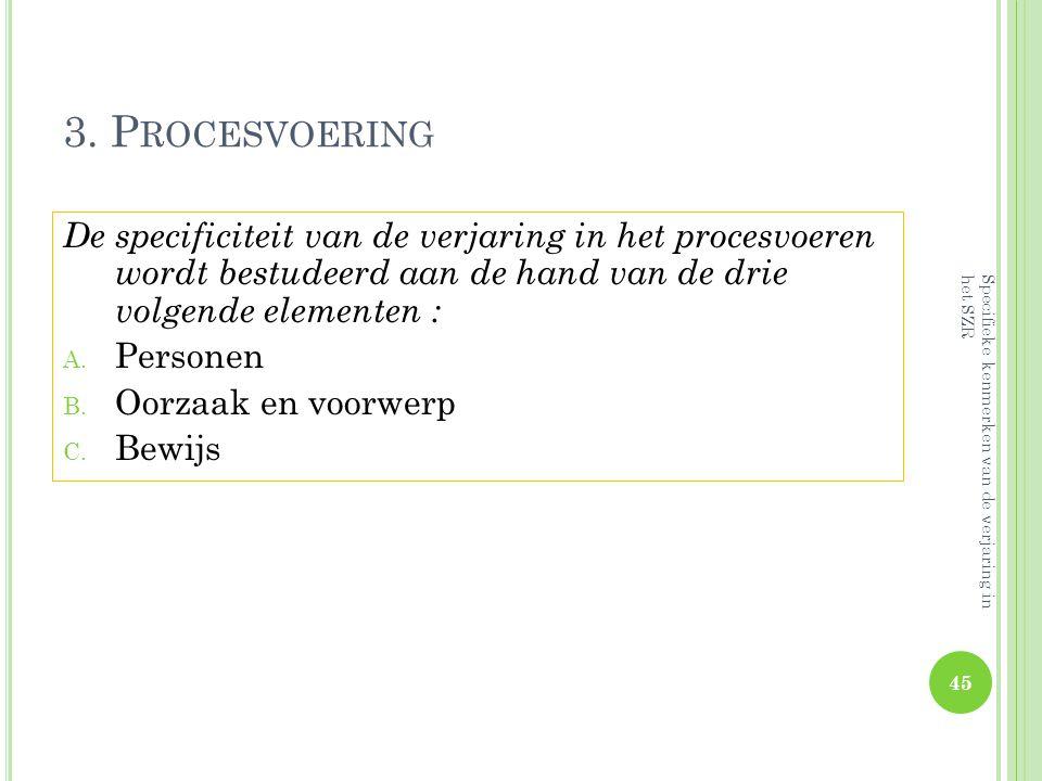 3. Procesvoering De specificiteit van de verjaring in het procesvoeren wordt bestudeerd aan de hand van de drie volgende elementen :